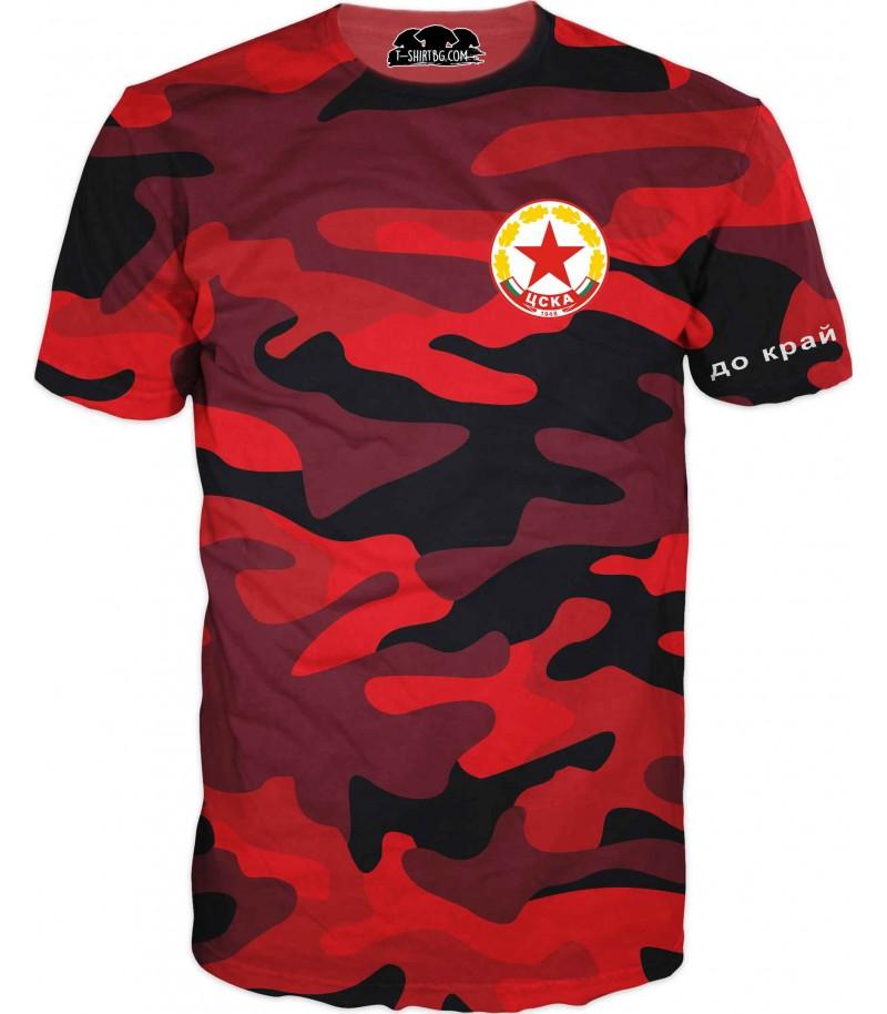 Спортна тениска  - червен камуфлаж - до край